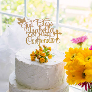 God Bless Cake Topper for Confirmation or Communion with dove and cross
