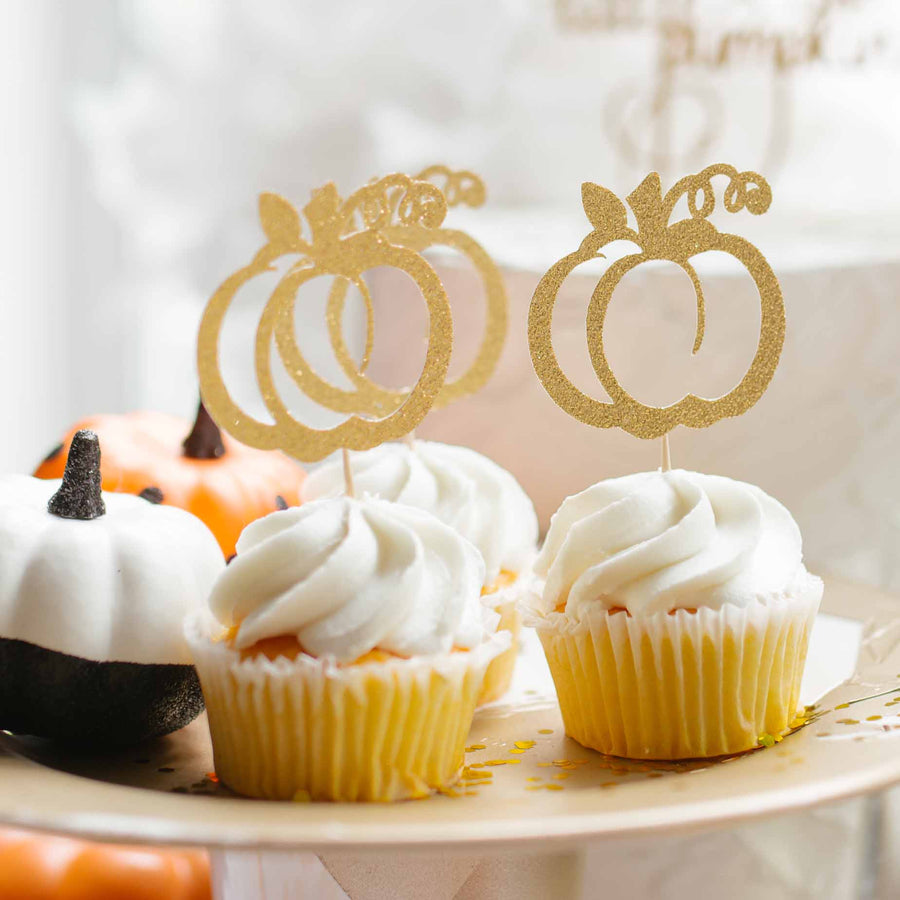 gold welcome little pumpkin baby shower cake topper