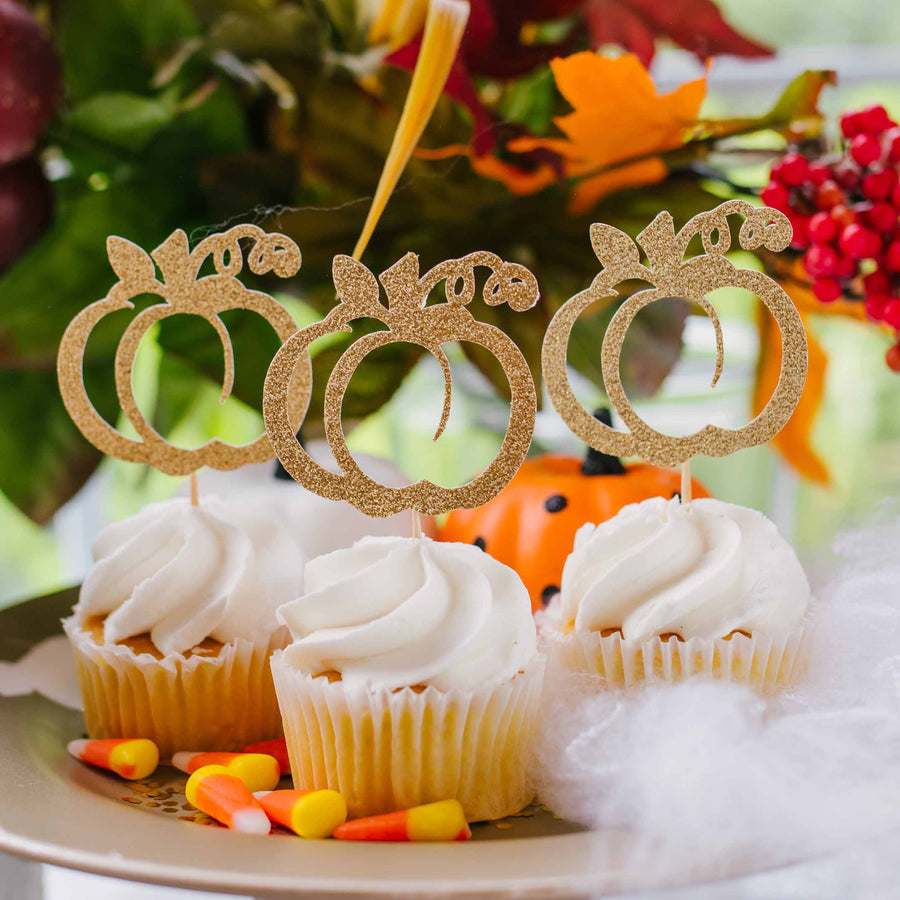 Gold pumpkin cupcake toppers