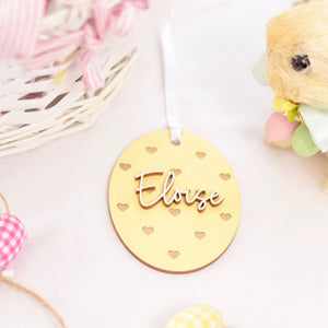 Yellow Easter Basket tag with heart polka dots and white name