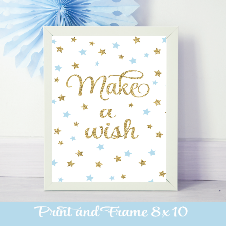blue and gold twinkle twinkle little star sign Make a Wish