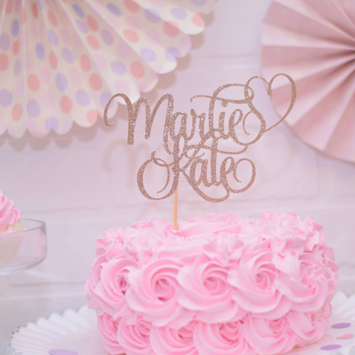 Personalized Name Cake Topper With Any 2 Words Included with Heart
