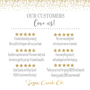 Our customers love us image with list of 5 star reviews for Sugar Crush Co