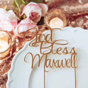 God bless cake topper in gold mirrored acrylic