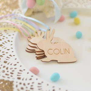 Stack of Easter Basket tags with pastel satin ribbon