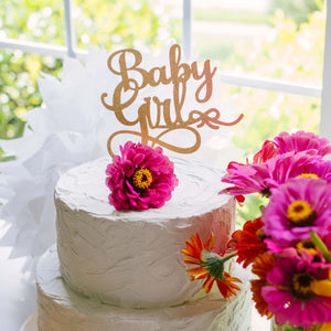 Baby Girl Cake Topper Pink Flowers on Cake