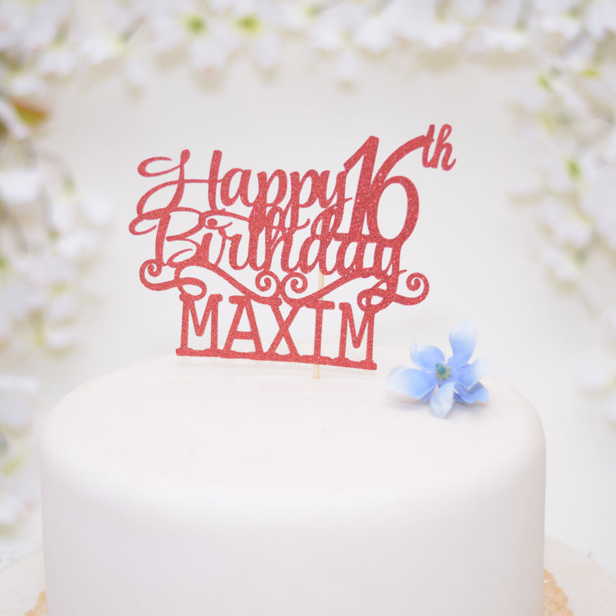 Turquoise happy birthday cake topper on a white cake with white flowers