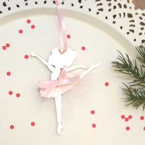 Rose gold and pink Ballerina Christmas ornament