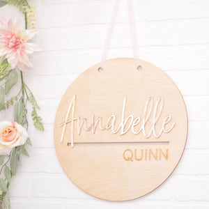 Round name sign wood with rose gold acrylic name