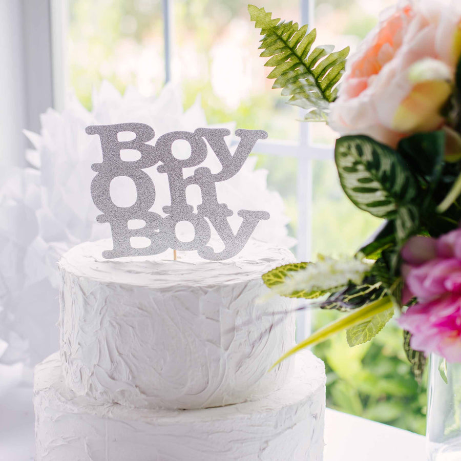 Boy Oh Boy silver cake topper on baby shower cake