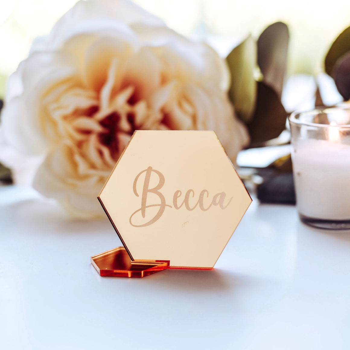Gold Geometric Wedding Place Cards