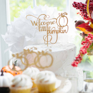 Welcome Little Pumpkin Thanksgiving Halloween Baby Shower Cake Topper