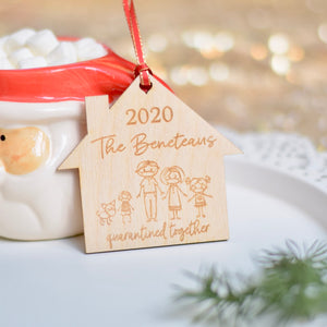 2020 Personalized Quarantine ornament with family members in masks.