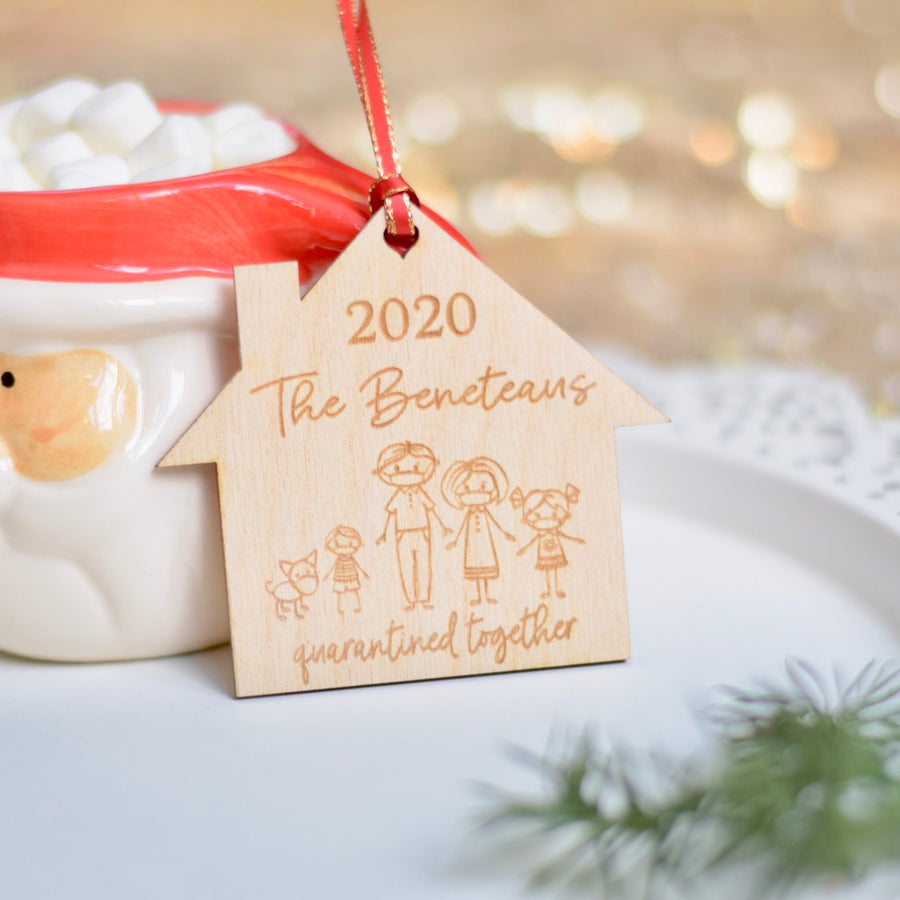 2020 Quarantine Christmas Ornament with family members wearing masks