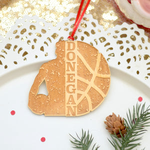 Personalized basketball ornament on a white plate