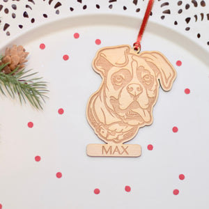 Wooden Boxer Dog ornament customized with name