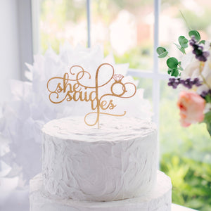 She Said Yes Bridal Shower Cake Topper
