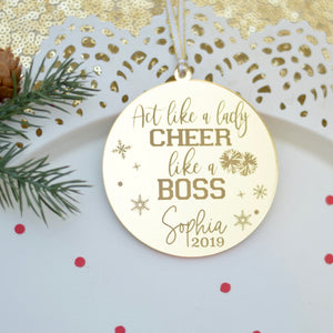 Act like a lady cheer like a boss personalized ornament for cheer squad or cheerleading team