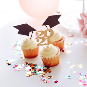 Graduation class of 2021 cupcake toppers with confetti