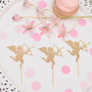Gold cupid cupcake toppers with pink cupcake and pink flowers