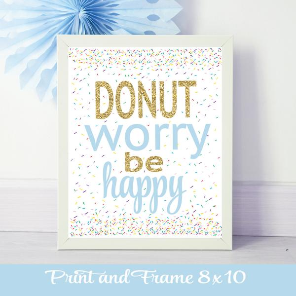 Donut worry be happy blue poster