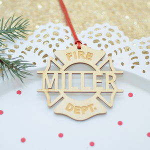 fire department ornament on a white cake plate