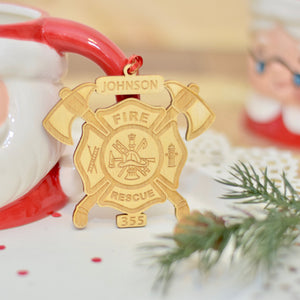 Fireman ornament for Christmas by Santa mug