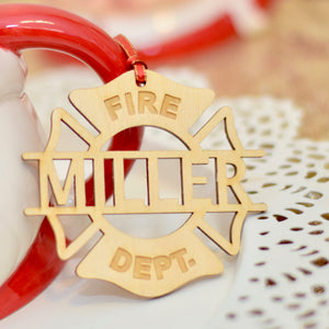 last name ornament for a firefighter