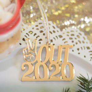 Gold Peace out 2020 Christmas Ornament