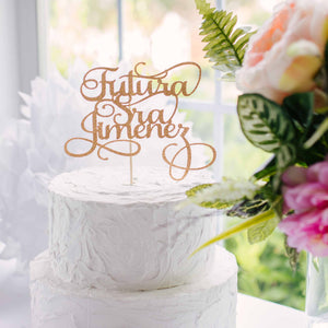 Gold Futura Sra Jimenez Cake Topper for bridal shower