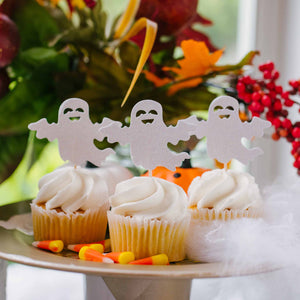 ghost cupcake toppers with candy corn