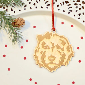 Golden doodle girl dog with bow tie in her hair laser cut wooden ornament