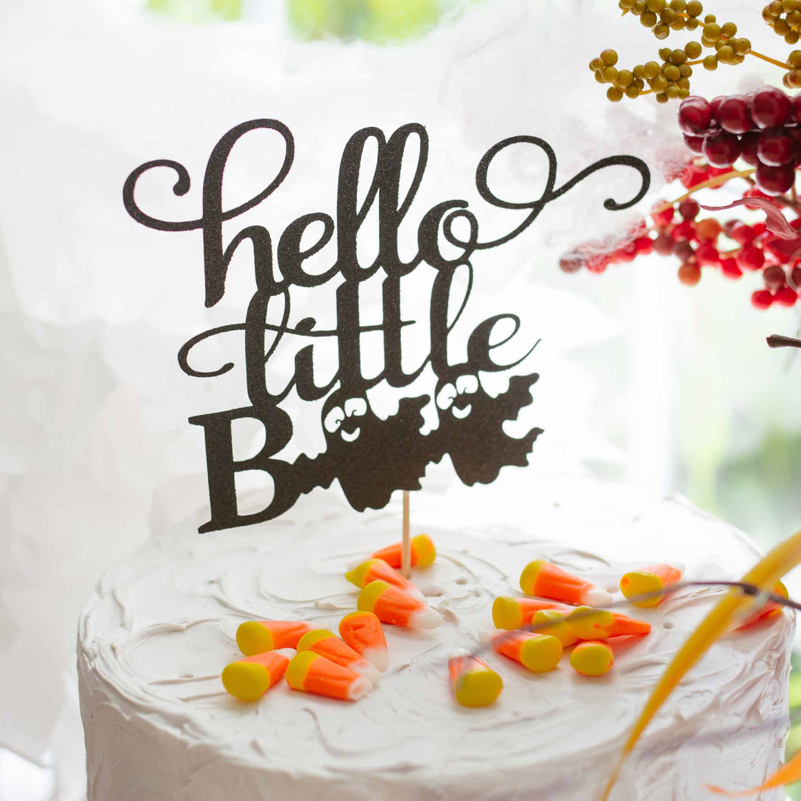 hello little boo halloween baby shower cake topper
