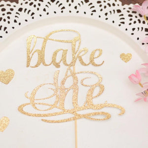 Blake is one gold sparkle cake topper