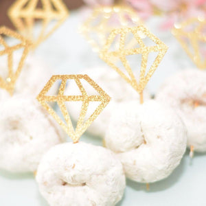 gold sparkle glitter diamond rings doughnut picks