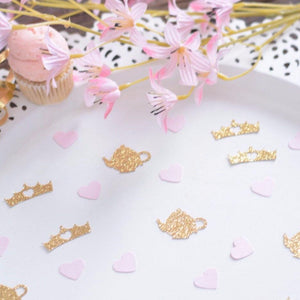 gold sparkle glitter teapot and crown confetti decoration