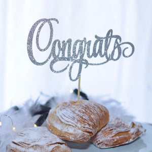 Congrats delicate cake topper with silver sparkle details