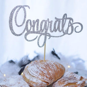 Congrats silver sparkle cake topper in pastry dessert