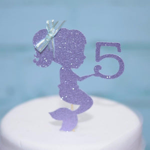 lavender glitter mermaid with number 5 with hair bow