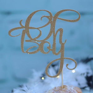 Oh Boy gold glitter sparkle cake topper