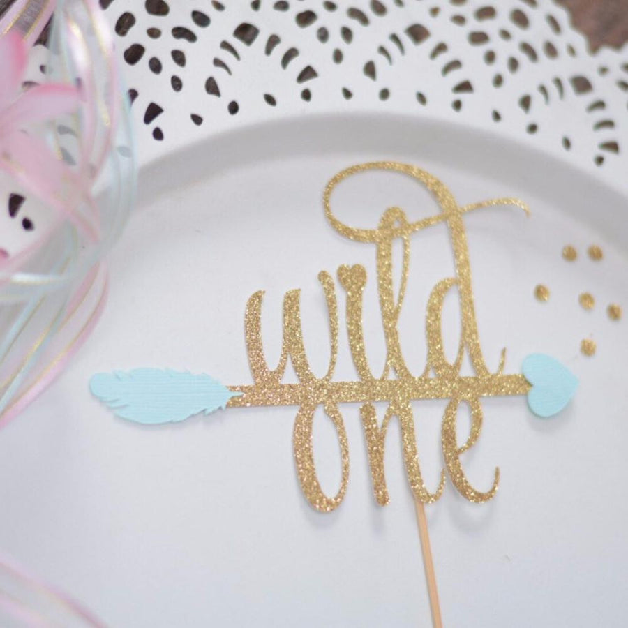 wild one pink and gold glitter cake topper