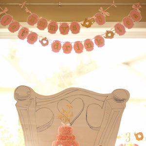 custom banner from Sugar Crush Co about tea party themed birthday cake