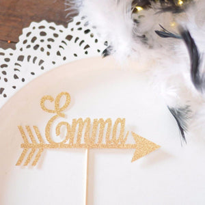 Emma gold glitter sparkle cake topper with an arrow in a fine lettered font