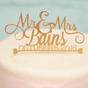 Mr and Mrs Bains October 8 2016 gold cake topper on white wedding cake
