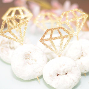 gold sparkle diamond donut picks