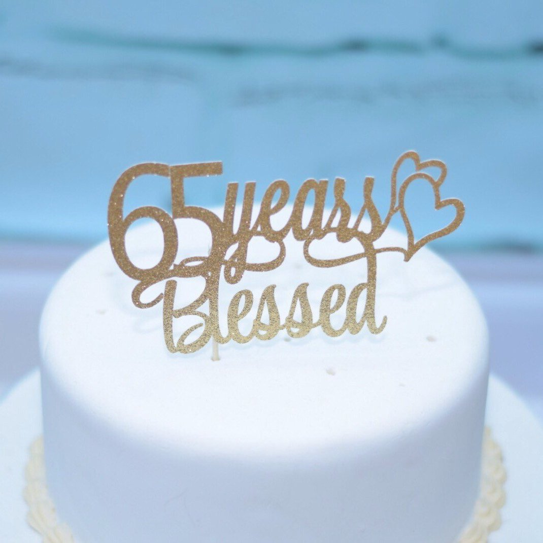 Personalized Years Blessed Birthday Cake Topper 1195 65 With Two Hearts In Gold Glitter On White