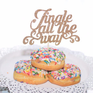 Jingle all the way gold sparkle glitter cake topper in three sprinkle donuts