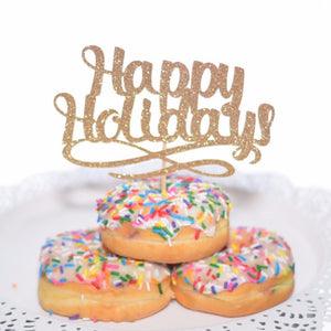 Happy Holidays gold cake topper in sprinkle donut