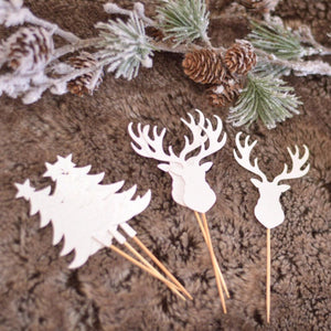 gold glitter tree and sparkly deer cupcake toppers