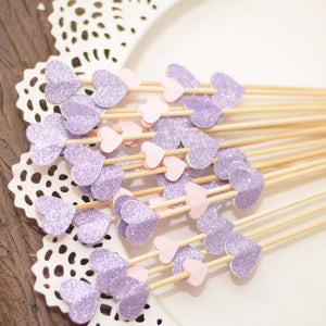 lavender and pink sparkle glitter mini donut skewers